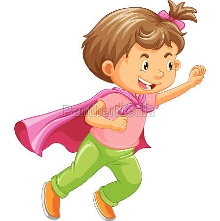 a kid playing superhero role