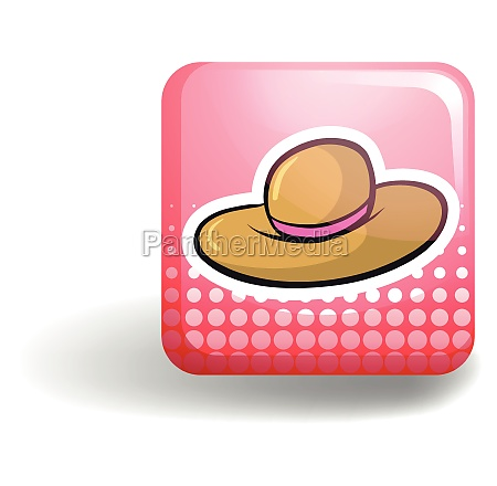 pink badge with brown hat