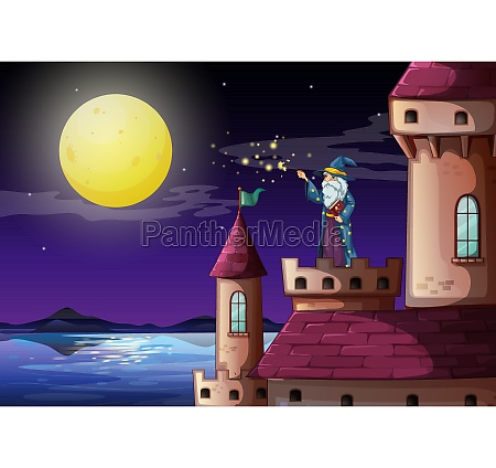 a wizard in the castles tower