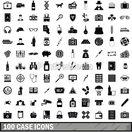100 case icons set simple style