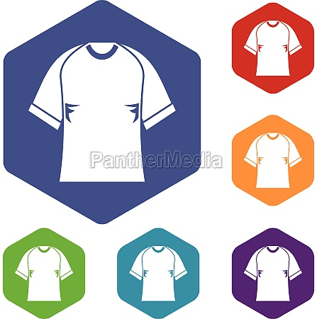 raglan tshirt icons set hexagon