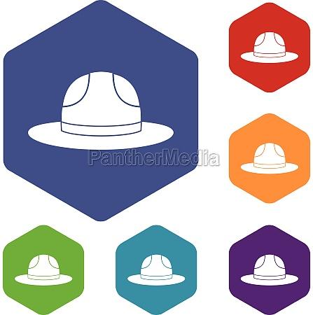 canadian hat icons set hexagon