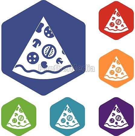 pizza slice icons set hexagon