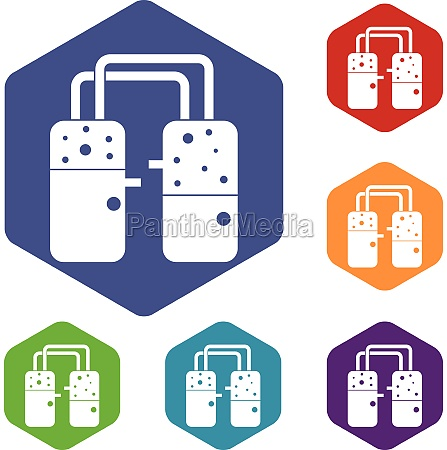 containers connected with tubes icons set
