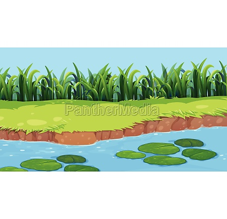 flat nature pond landscape