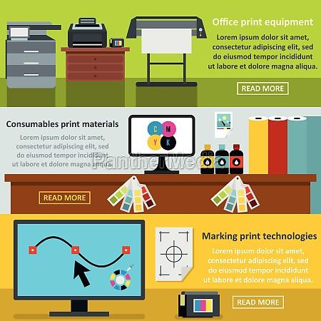 printing process banner horizontal set flat