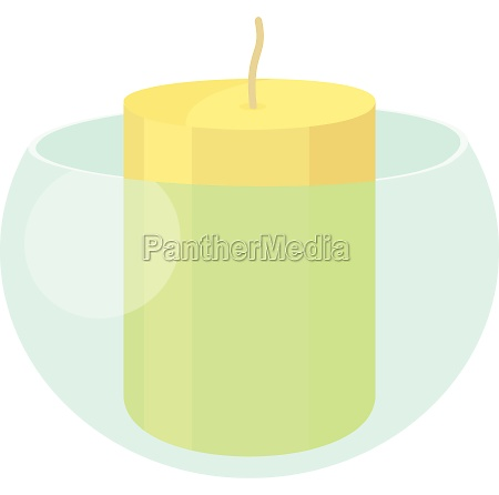 white candle in the glass candlestick