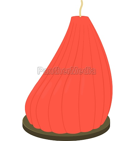 big red candle icon cartoon style