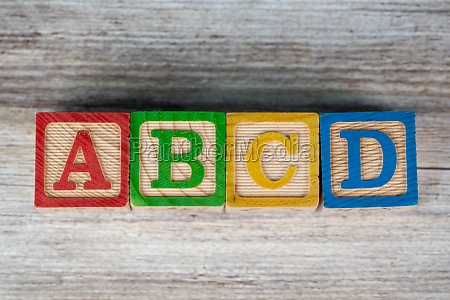 abcd letter education wood block