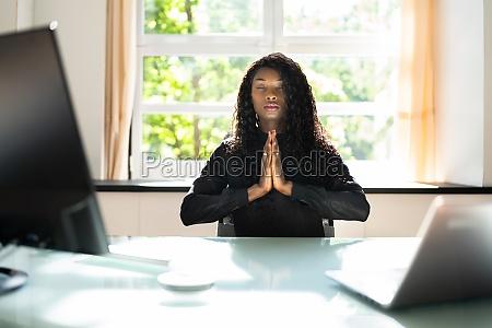 healthy yoga meditation at workplace