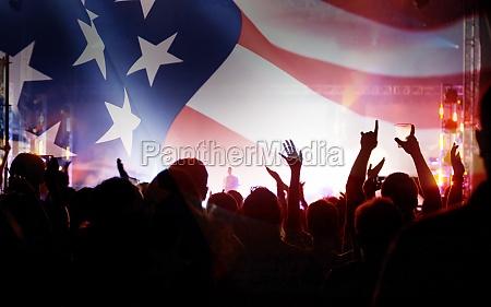 united states flag crowd celebrating