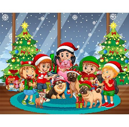 christmas indoor scene with many children