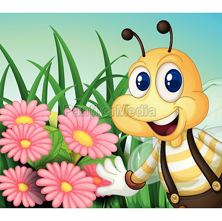 a happy bee at the garden