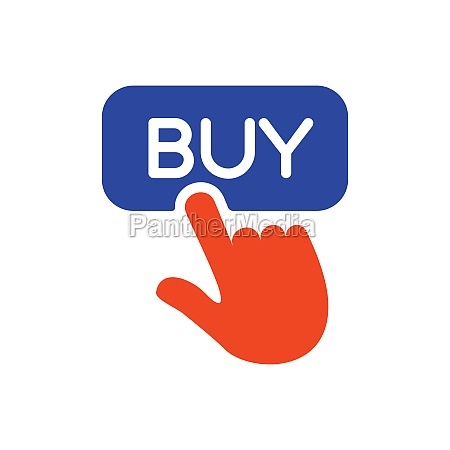 finger pointing to buy sign glyph
