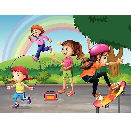 kids doing activities in the park