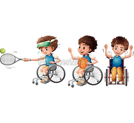 boy in wheelchair playing tennis and