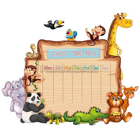 animal school timetable on white
