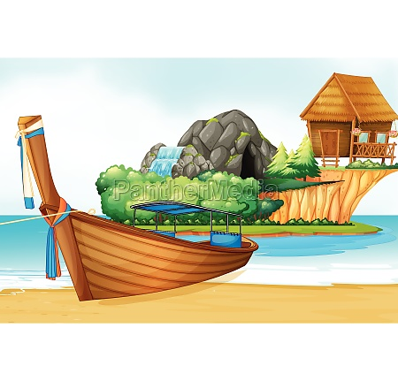 background scene with wooden boat on