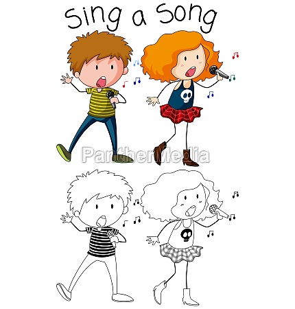 doodle boy and girl singer character