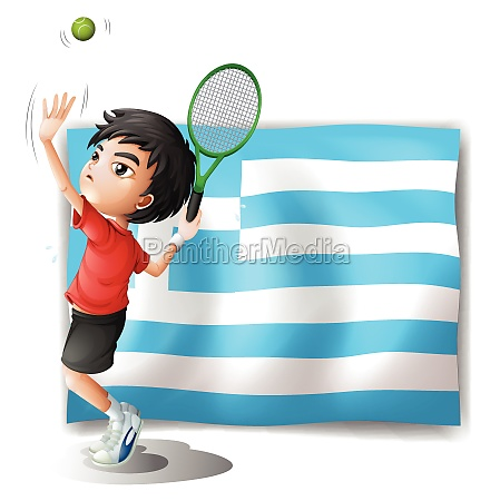 a tennis player and the flag