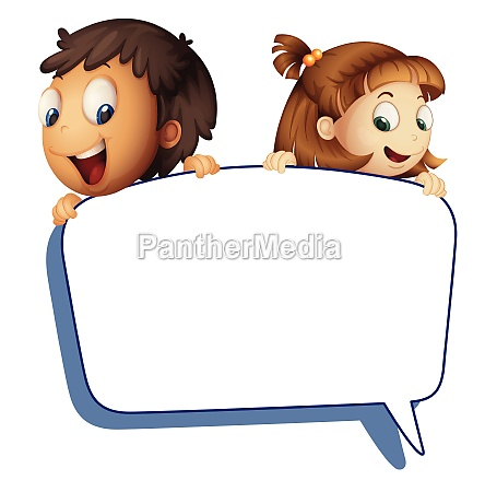 girl and boy holding callout picture