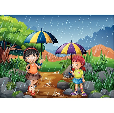 rainy season with two girls in