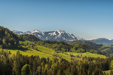 appenzellerland with view of the saentis