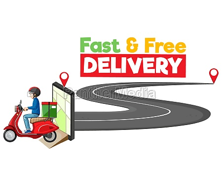 fast and free delivery logo with
