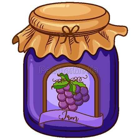 one jar of grape jam on