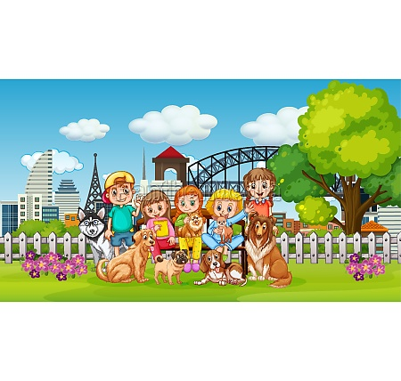 park outdoor scene with many children