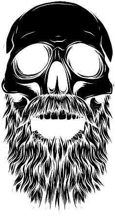 black silhouette bald bearded hipster skull