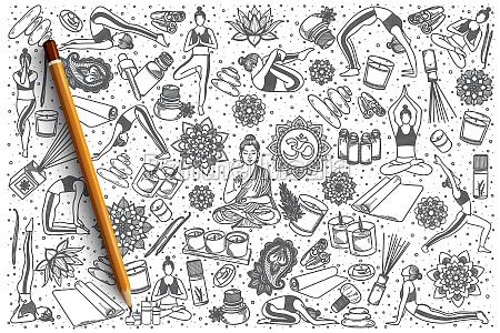 hand drawn yoga vector doodle set