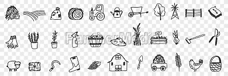 farming tools and equipment doodle set