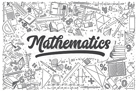 hand drawn mathematics vector doodle set