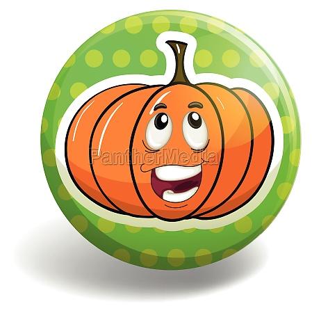 pumpkin on the round badge