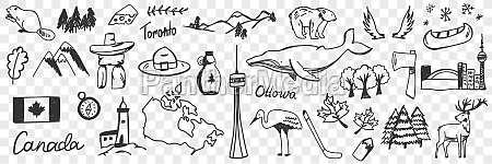 canadian symbols and signs doodle set