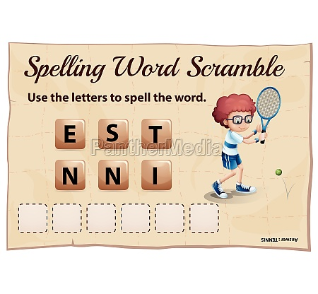 spelling word scramble game template with