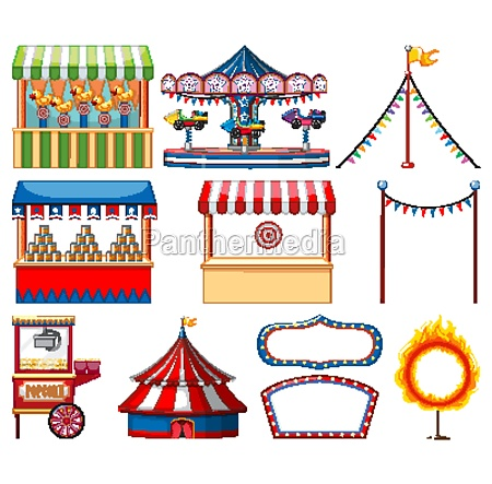 set of circus items on white