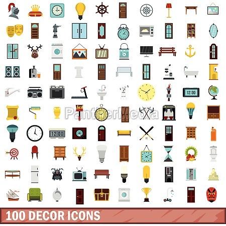 100 decor icons set flat style