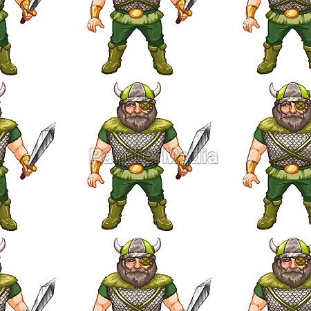seamless background design with viking worrior