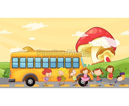 students playing near the school bus