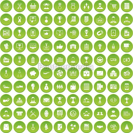 100 business career icons set green