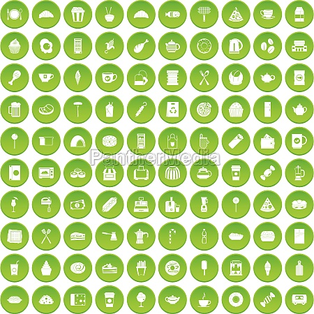 100 cafe icons set green circle