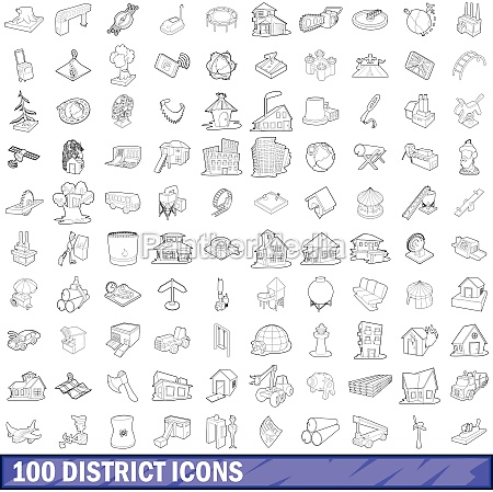 100 district icons set outline style
