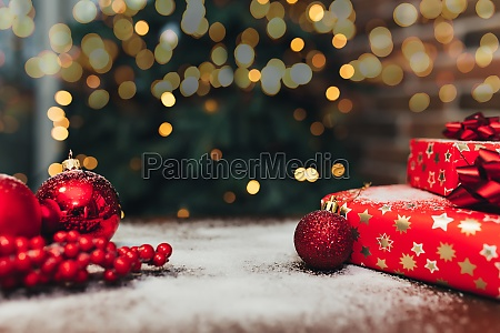 red christmas decorations and gifts on