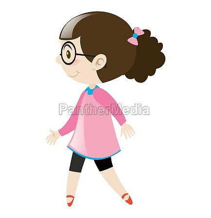 girl in pink shirt walking