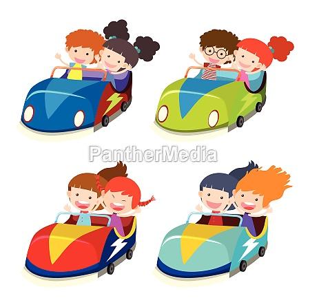 a set of bumper cars