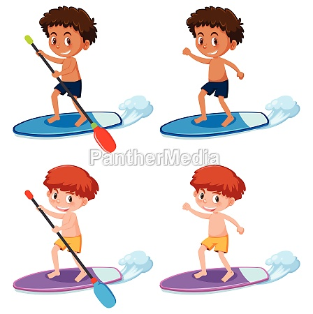 boy paddle the sup board