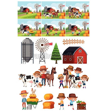 set of farm object and background