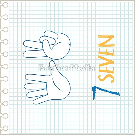 hand gesture number notebook background